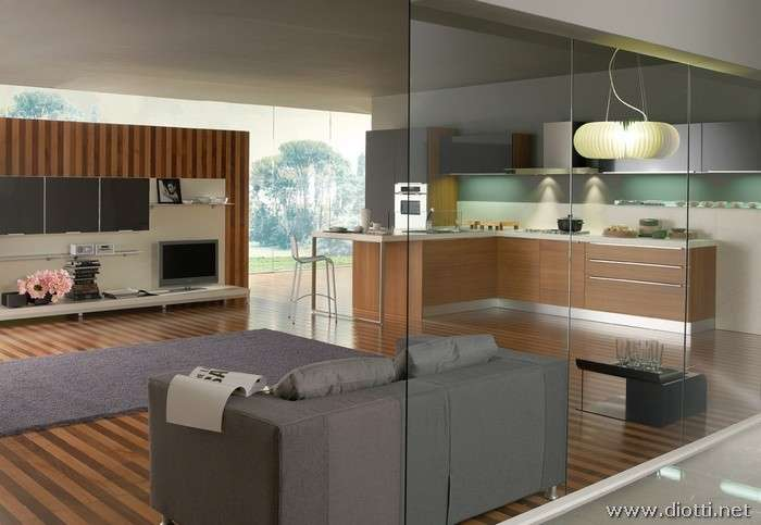 cucina-con-soggiorno-in-teak - Immobiliare Conti